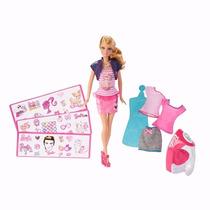 Boneca Barbie Estampa Fashion Estilista Roupas Sapatos Colar