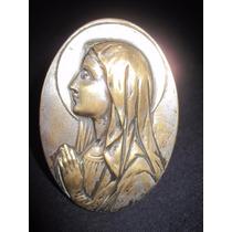 Antiguo Ovalo En Metal Con Imagen De La Virgen
