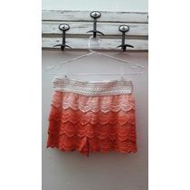 Short Crochet Pollera Encaje Brodery Importado Mini Tejido