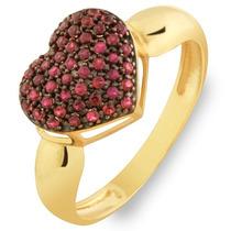 Anel De Ouro 18k Coração Com Pedras Vermelha /anel Noivado