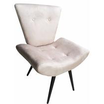 Cadeira Poltrona Decorativa Com Botões Suede Areia