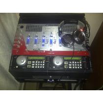 Mezclador Pyle Pro+discplay American Audio+luces+audifonos