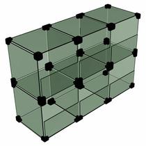 Baleiro De Vidro Modulado 20x20 Cm 6 Divisórias 60 Cm