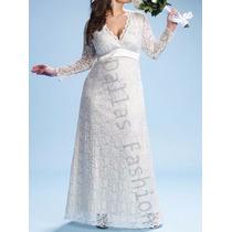 Vestido De Festa Noiva/madrinha Em Renda, Plus Size