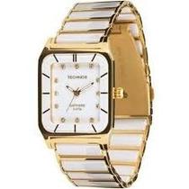 Relógio De Cerâmica Quadrado Branco Vidro Safira 2036lmp/4b