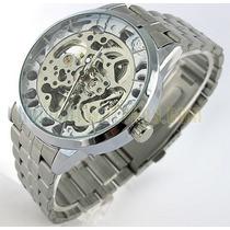 Relógio Automático Esqueleto Vencedor Mecânico Aço Inox