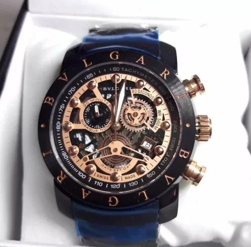 6b4aa79803e Relógio Bvlgari Skeleton Bu9965 Iron Man Ouro Golden Luxo - R  250 ...