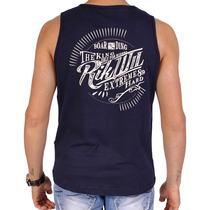 Camiseta Regata Azul Marinho Surf Para Academia Fitness