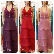 Vestido De Festa Renda Organza 6 Cores Broche Incluso 1236