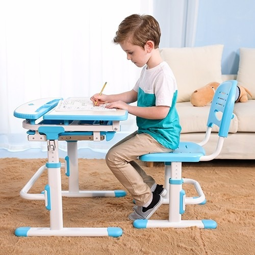 Escritorio ergonomico para estudio con silla para ni os as for Medidas ergonomicas de un escritorio