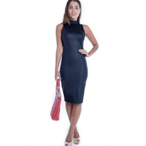 Vestido Midi De Gola Alta Ve1370