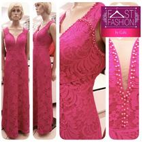 Vestido Longo De Festa Renda Bordado Madrinha Tiffany Pink