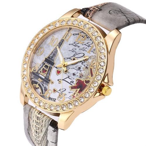 2e218a74771 Relógio Feminino Torre Eiffel Quartzo Pulseira Couro Oferta - R  25 ...