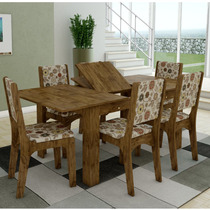Conjunto De Mesa Extensível Dalla Costa Tm40 Com 6 Cadeiras