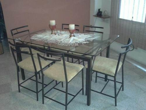 Comedor de seis puestos moderno de vidrio y acero u s for Comedores en acero y vidrio
