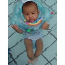 Boia De Pescoço Inflável Para Bebês Azul Rosa Lilás Verde