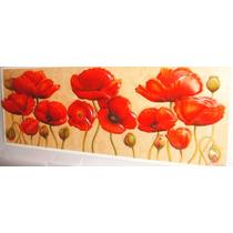Quadro Para Sala Flores Papoulas Vermelhas Arte Francesa
