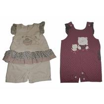 Kit 2 Macacões Bebê Curto Menina Modelo Verão Tamanho M