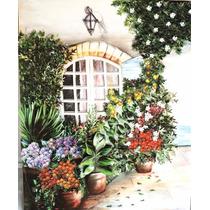 Quadro Flores E Plantas Com Janela Em Arte Francesa