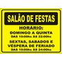 Placa Ps 2mm Salão De Festas Horário Condominio Prédio Clube