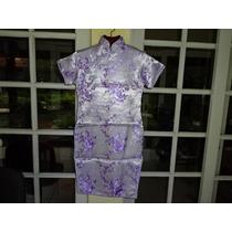 Vestido Modelo Japonês Chines 100% Seda Tamanho 14