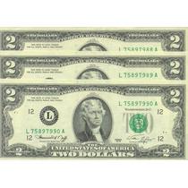 Lote De 3 Billetes De 2 Dólares Numeración Correlativa