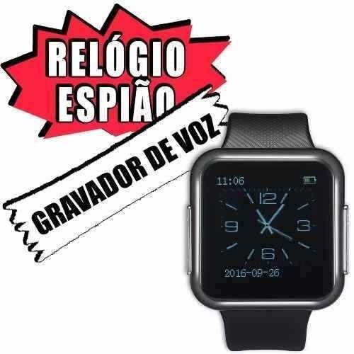6b73f861b5f Relogio De Pulso Quadrado Aparelho Espiao Escuta Grande Be6 - R  207 ...