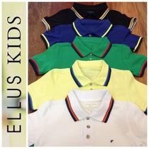 Camiseta Polo Ellus Kids Manga Curta Friso - Amarelo