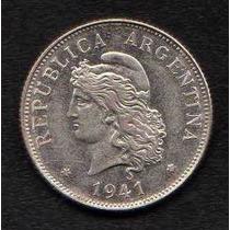 Moneda Argentina 50 Centavos 1941 Cabellera Rizada