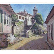 Quadro Pintura Óleo S/ Tela Ouro Preto 38x44cm Frete Grátis