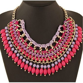 2a535703a550 Collar Harmonie Accesorios Multicapas Mostacillas Rosado -   50.260 en  Mercado Libre