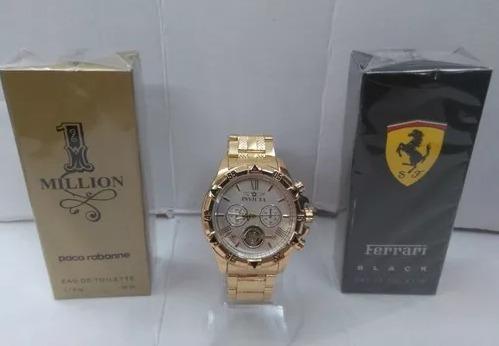 a5a36e06838 Kit Relógio Masculino Dourado Aço Pesado + 2x Perfume Luxo - R  120 ...