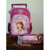 Kit Mochila Rodinha P + Estojo - Princesa Sofia Disney