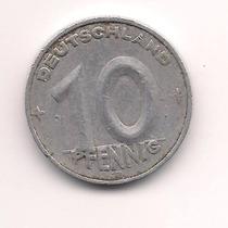 Moneda Alemana Oriental 10 Pfennig Año 1950 E Muy Buena-