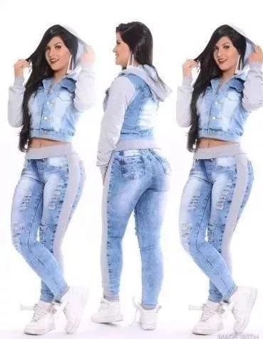 c7218ff7c Promoção Outono Inverno Conjunto Jeans/moleton Calça+jaqueta - R$ 139,00 em  Mercado Livre