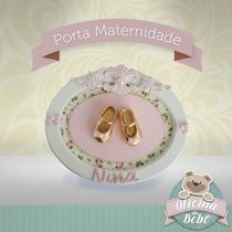 Porta Maternidade Sapatinhos Menina Perola Bebê Princesa