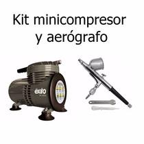Kit Mini Compresor Exito Y Aerografo Profesional Adir