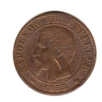 Moneda Francia 5 Centimes Año 1853 Napoleon Iii Buena+