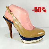 Zapatillas Modernas Tacón Y Plataforma Color Camel Oferta