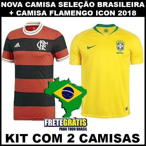 a199ed63fb Nova Camisa Flamengo + Camisa Seleção Brasileira Copa 2018 - R  120 ...