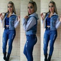 Jaqueta Jeans Feminina Com Moletom Roupa Feminina
