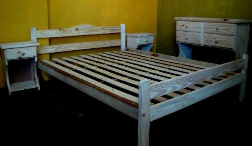 Juego Dormitorio Cama 2 Plazas Comoda Mesas Luz Pino Nuevo - $ 3.590 ...