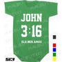 Body Evangélico Gospel Infantil John 3:16 Bebê Frases