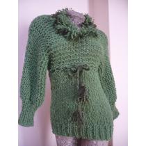 Sueter Pullover Artesanal Tejido A Mano Verde Modelo Único S