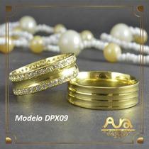 Alianças Ouro 12k 6mm Com Pedras-frete Grát- 12xs/jur Dpx09