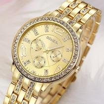Lindo Relógio Feminino Dourado Com Strass De Luxo Importado