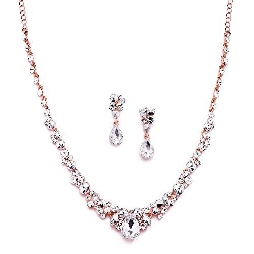 fa0a6c589b76 Mariell Glamorous Blush Rose Gold Crystal Collar Y Pendiente -   1.644