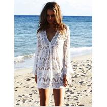 Vestido Playa Para Traje De Baño Blanco Ivory Tejido