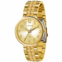 Relógio Lince Dourado Feminino (orient) Lrg4275l Prova Dágua