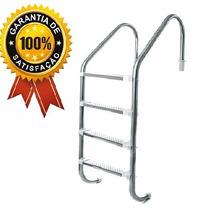 Escada Em Inox Para Piscina- 4 Degraus- Degraus Em Aço Inox